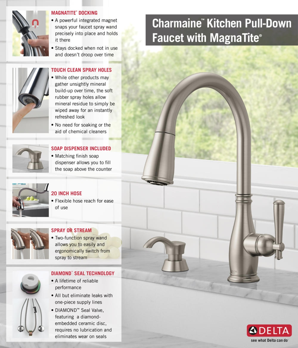 Ideas, delta kitchen faucets with soap dispenser delta kitchen faucets with soap dispenser delta charmaine single handle pull down sprayer kitchen faucet 1000 x 1167  .