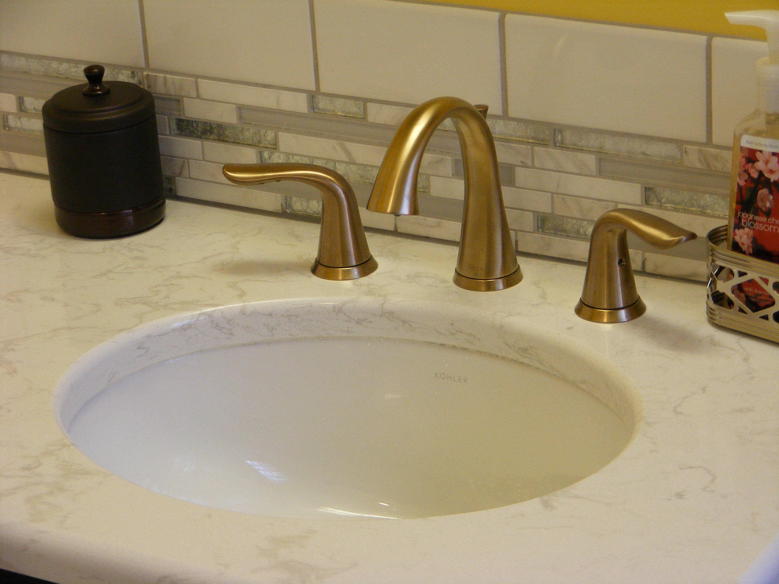 Ideas, delta lahara faucet in champagne bronze finish mhi interiors intended for size 3072 x 2304  .