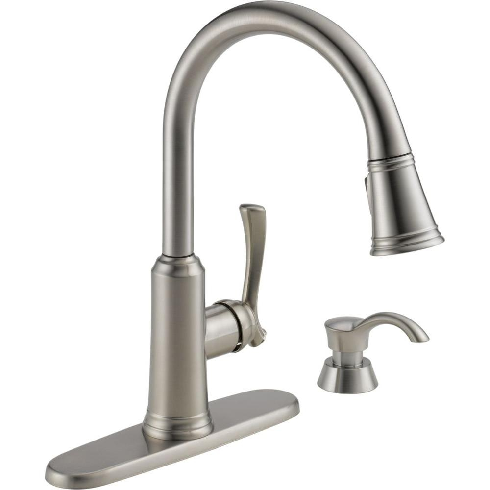 delta lakeview single handle pull down sprayer kitchen faucet with pertaining to dimensions 1000 x 1000