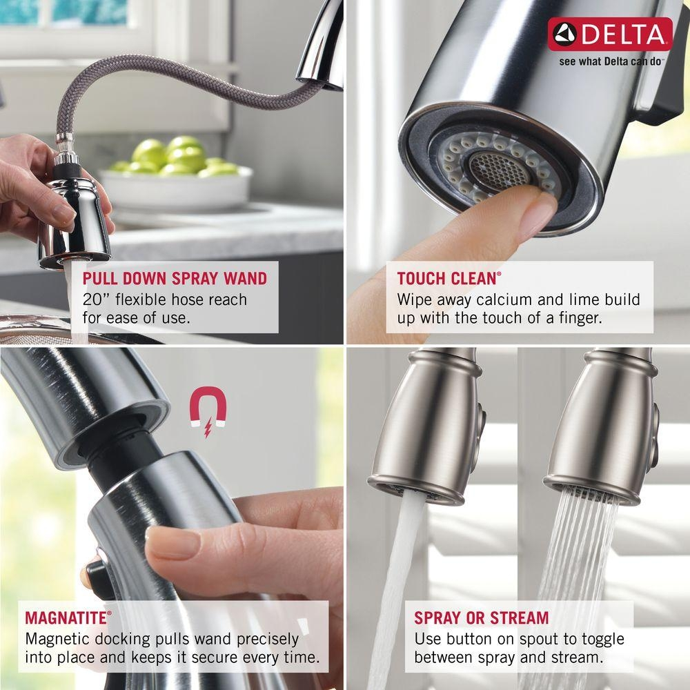 Ideas, delta leland single handle pull down sprayer kitchen faucet with with regard to size 1000 x 1000  .