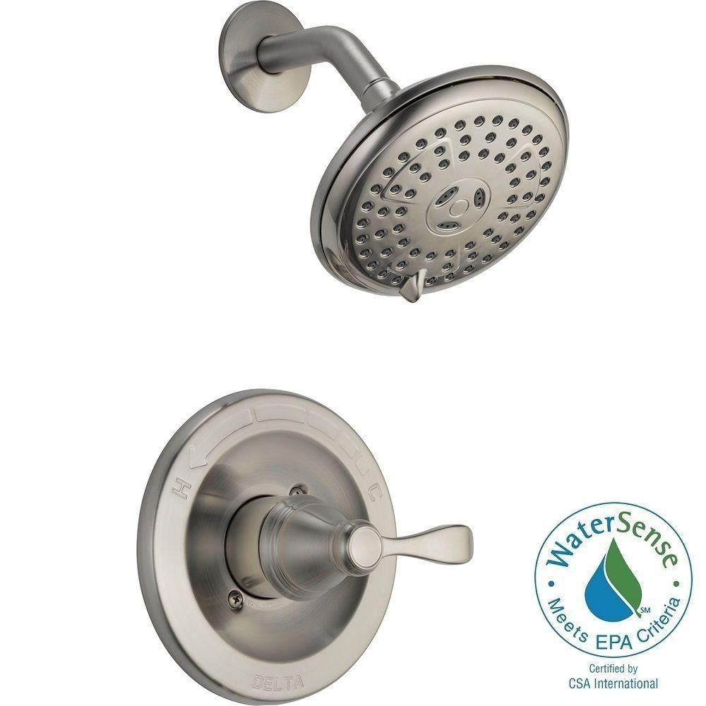 delta porter single handle 3 spray shower faucet in brushed nickel regarding dimensions 1000 x 1000