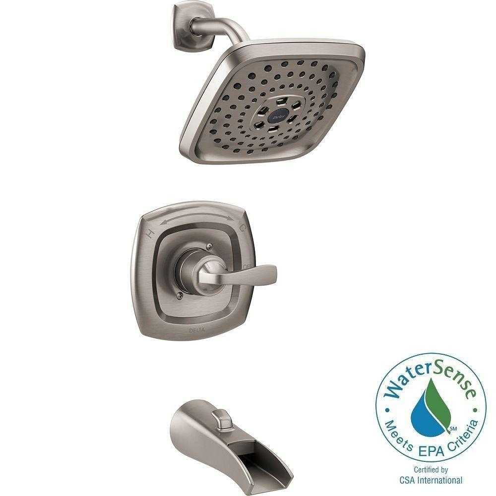 delta satin nickel shower faucet delta satin nickel shower faucet delta tolva h2okinetic single handle 3 spray tub and shower faucet 1000 x 1000