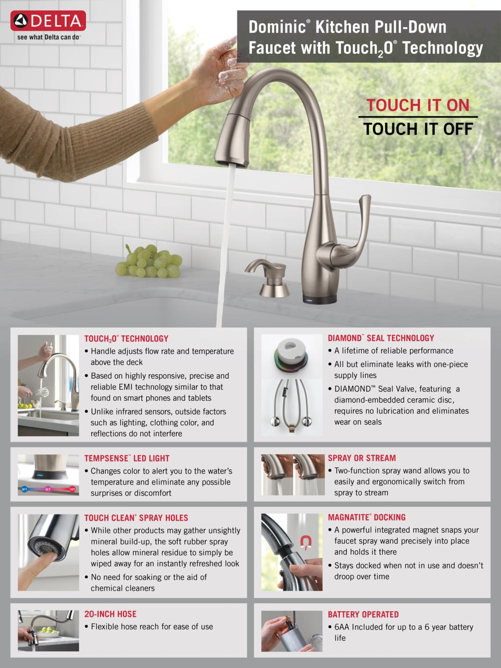 delta touch faucet battery life delta touch faucet battery life delta dominic single handle pull down sprayer kitchen faucet with 1000 x 1333