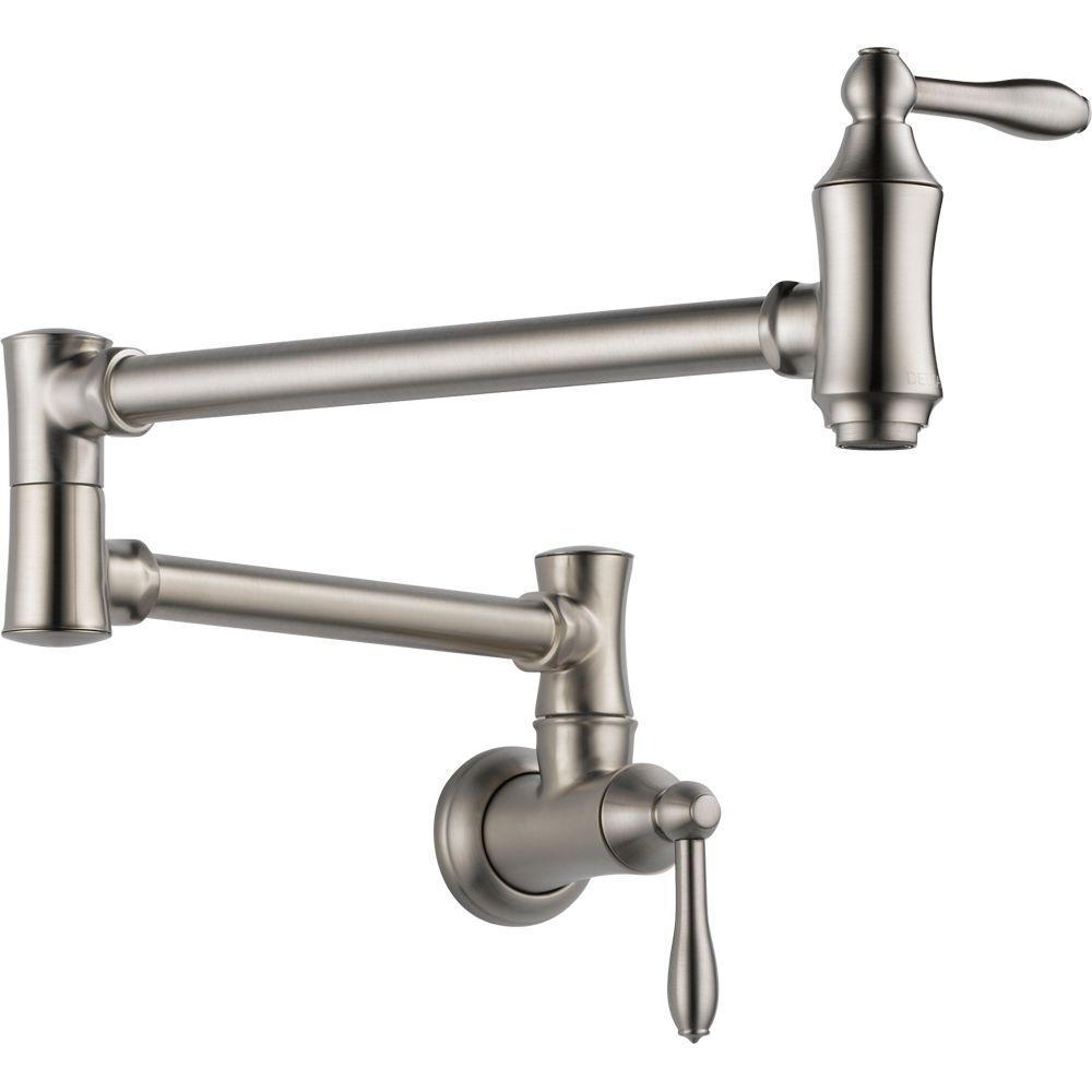 Ideas, delta traditional wall mounted potfiller in stainless 1177lf ss throughout measurements 1000 x 1000  .