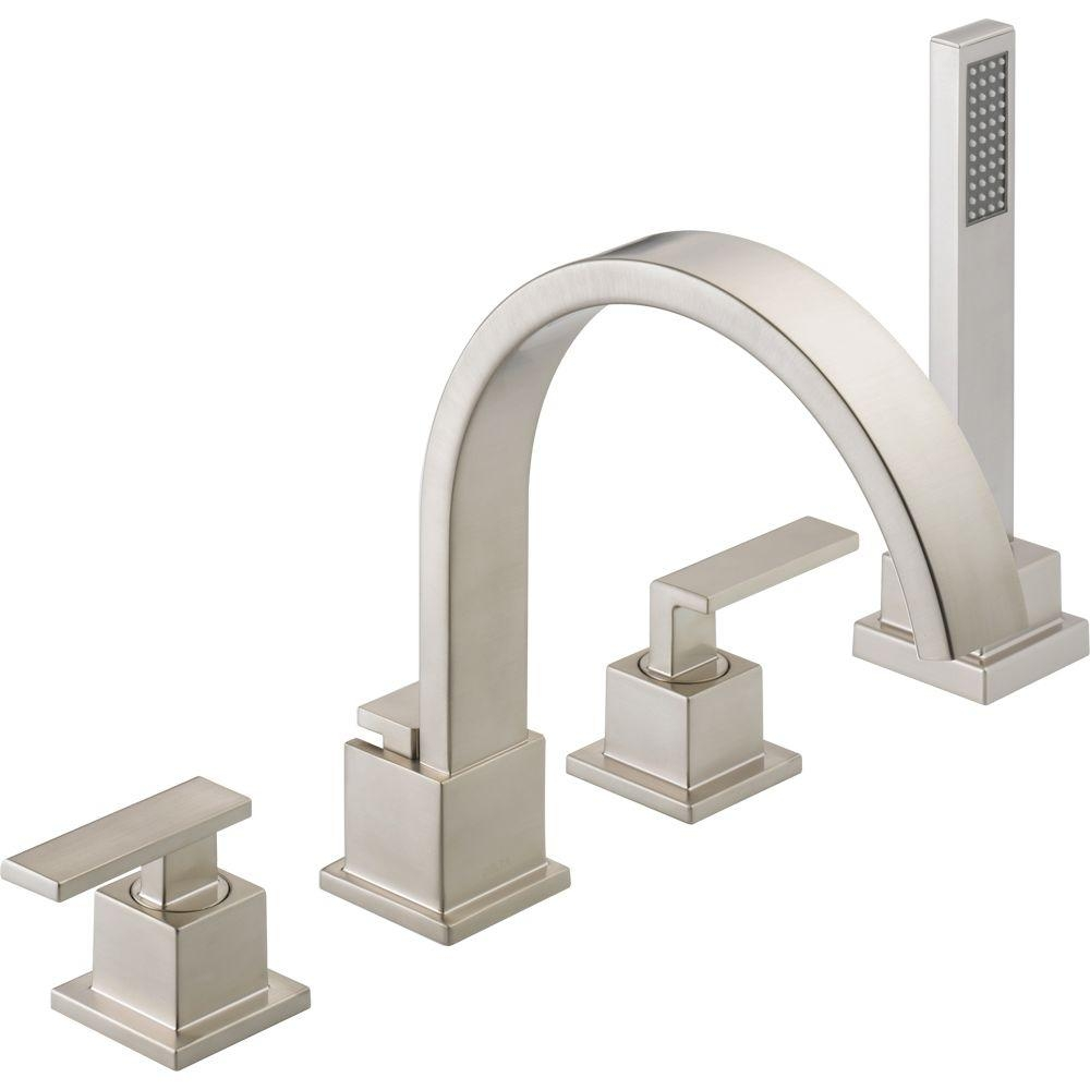 delta vero 2 handle deck mount roman tub faucet with hand shower with proportions 1000 x 1000