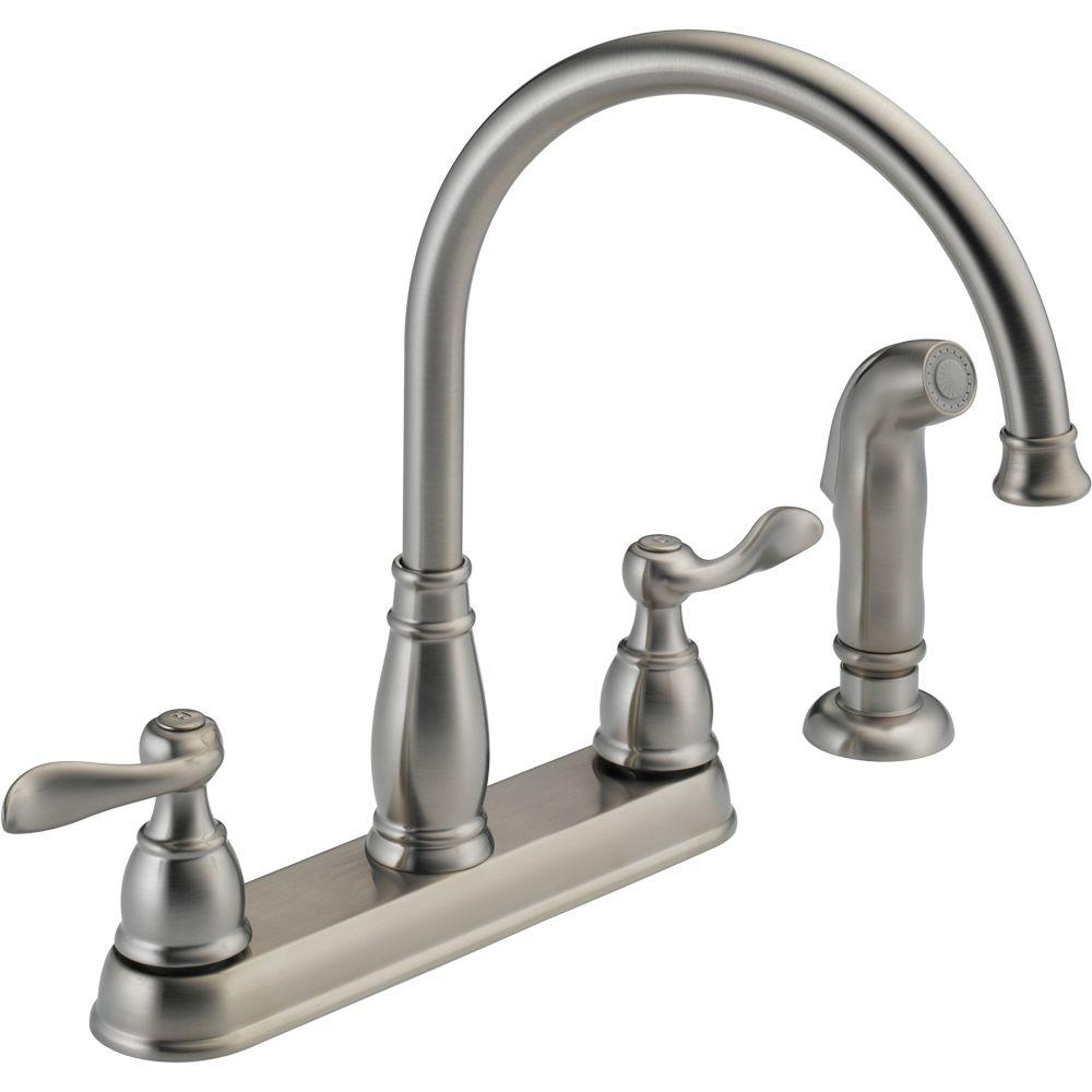 Ideas, delta windemere 2 handle standard kitchen faucet with side sprayer throughout size 1000 x 1000  .