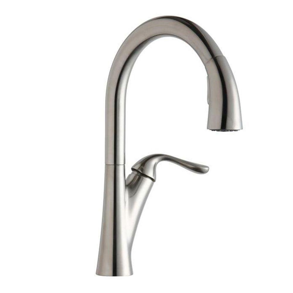 elkay harmony single handle pull down sprayer kitchen faucet in intended for proportions 1000 x 1000