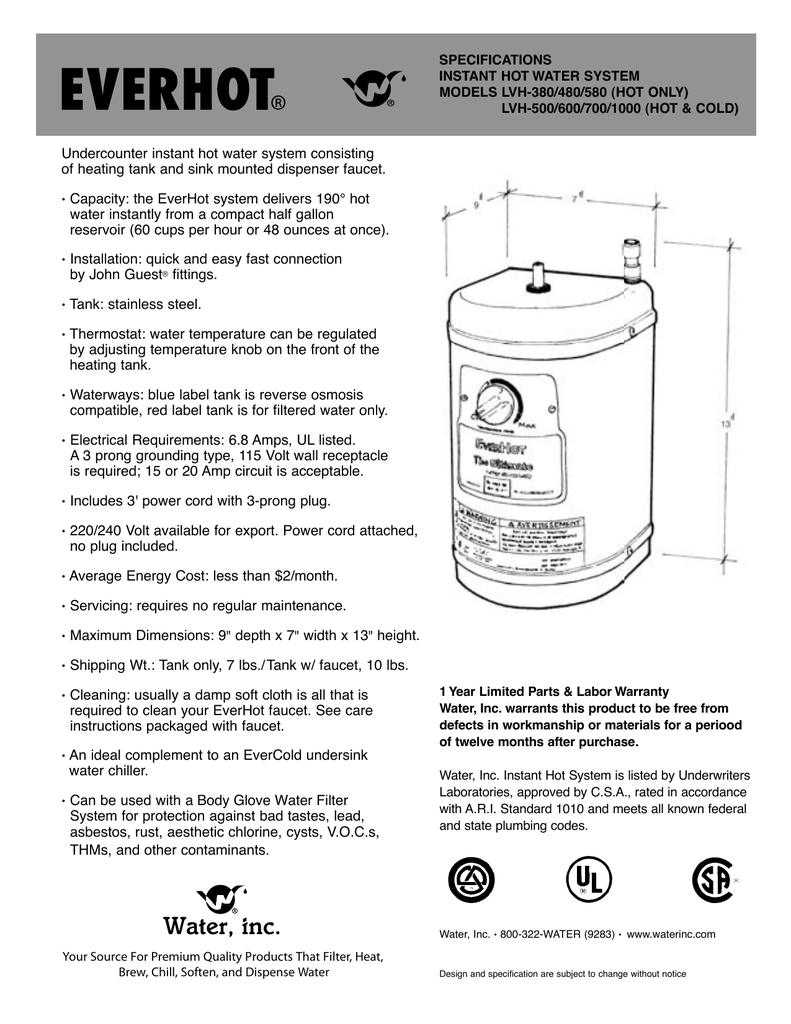 everhot tank full spec sheet pertaining to size 791 x 1024