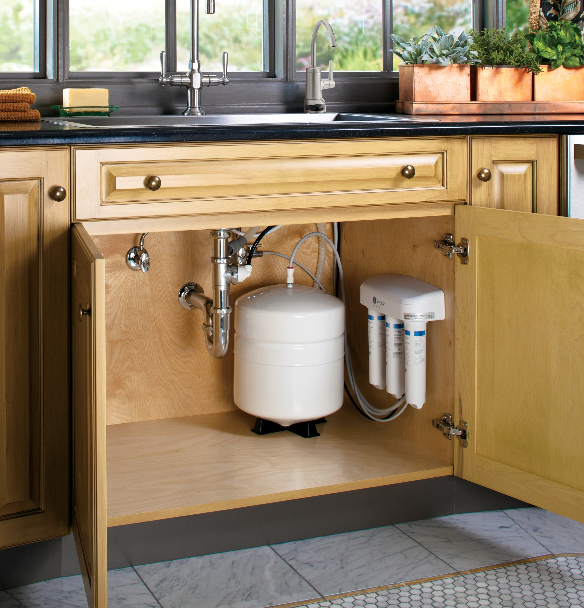 ge profile reverse osmosis filtration system with brushed nickel throughout size 2400 x 2500