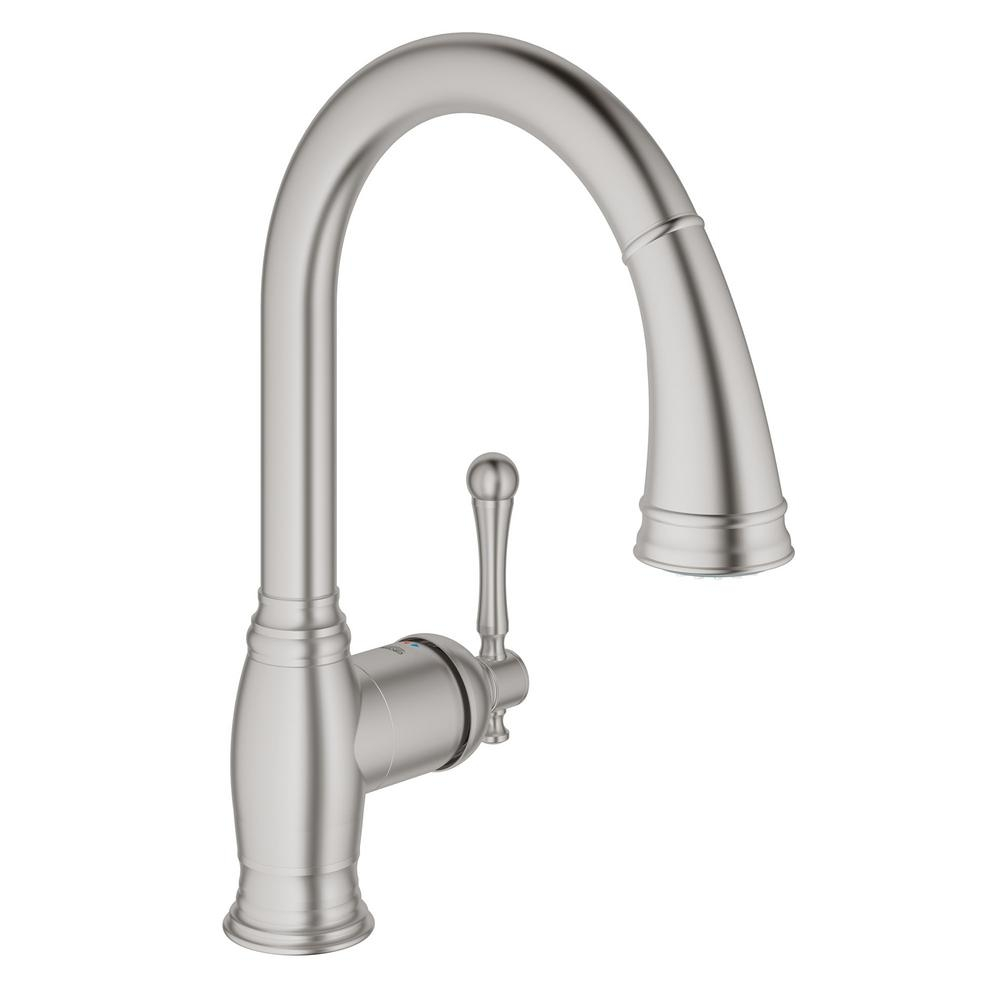 Ideas, grohe bridgeford single handle pull down sprayer kitchen faucet in in proportions 1000 x 1000  .