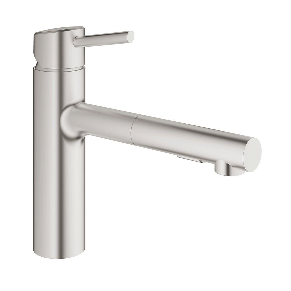 grohe concetto single handle pull out sprayer kitchen faucet in throughout size 1000 x 1000