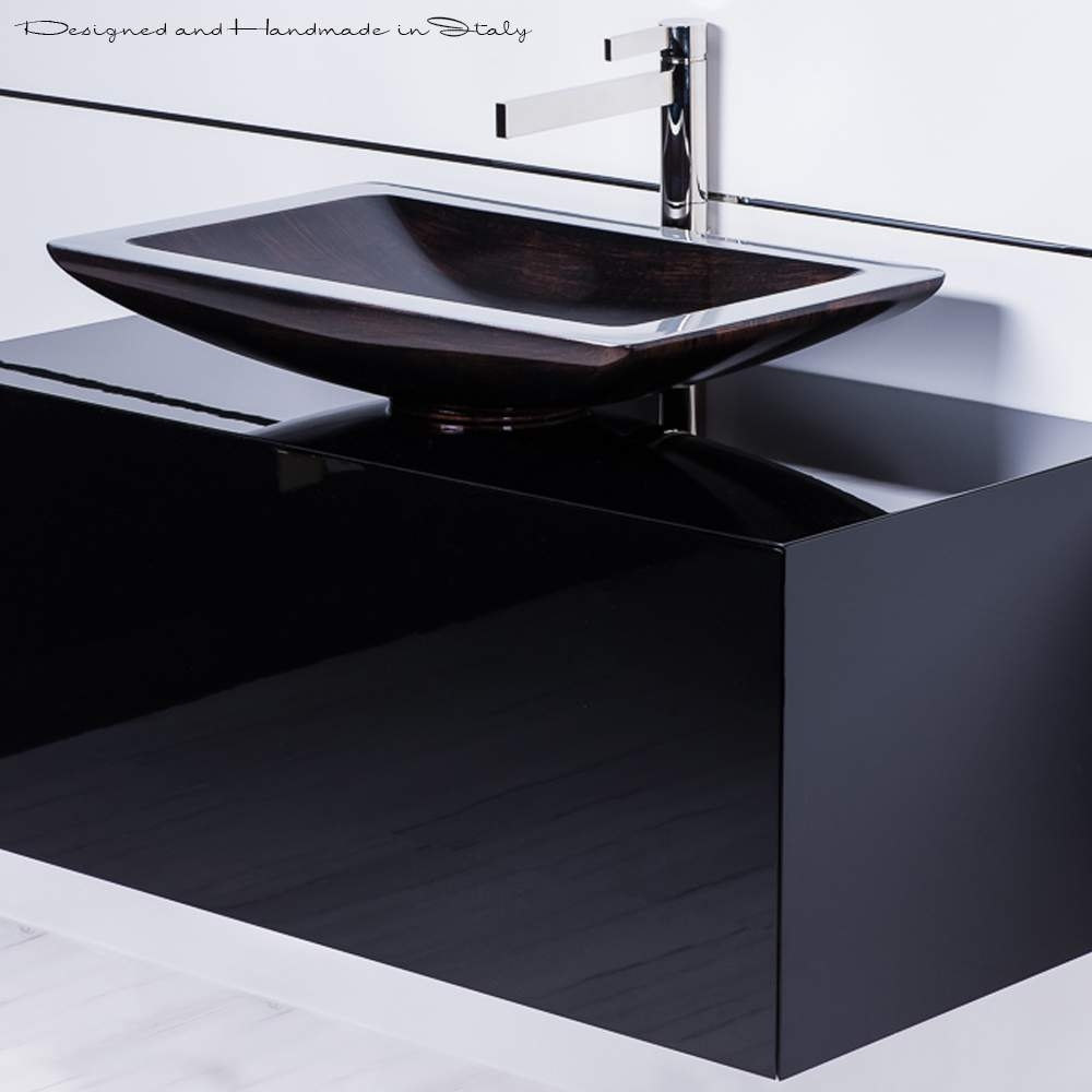 Ideas, inch black bathroom vanity with rectangular vessel sink and faucet in proportions 1000 x 1000  .