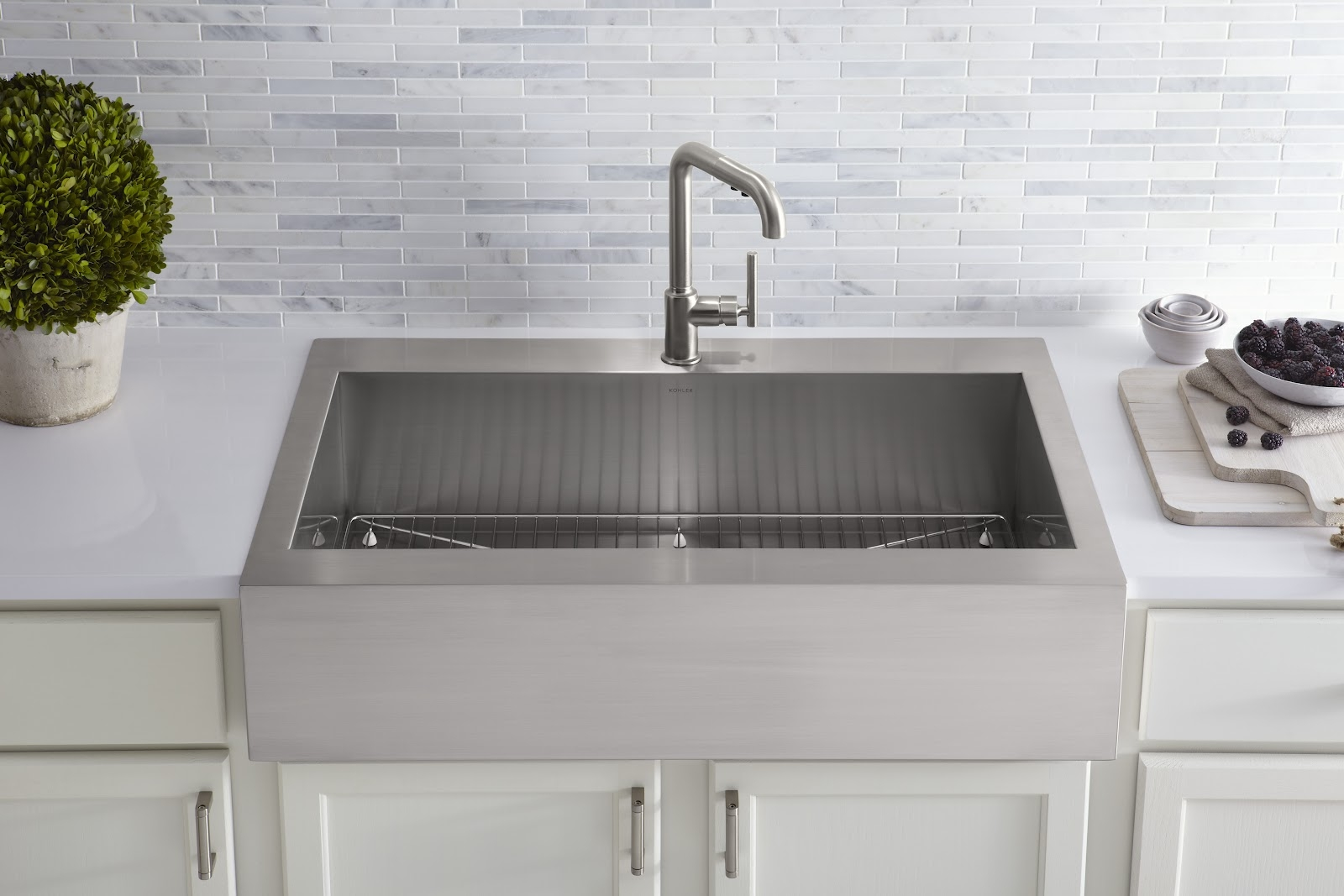 Ideas, kitchen convenient cleaning with stainless steel farm sink pertaining to sizing 1600 x 1067  .