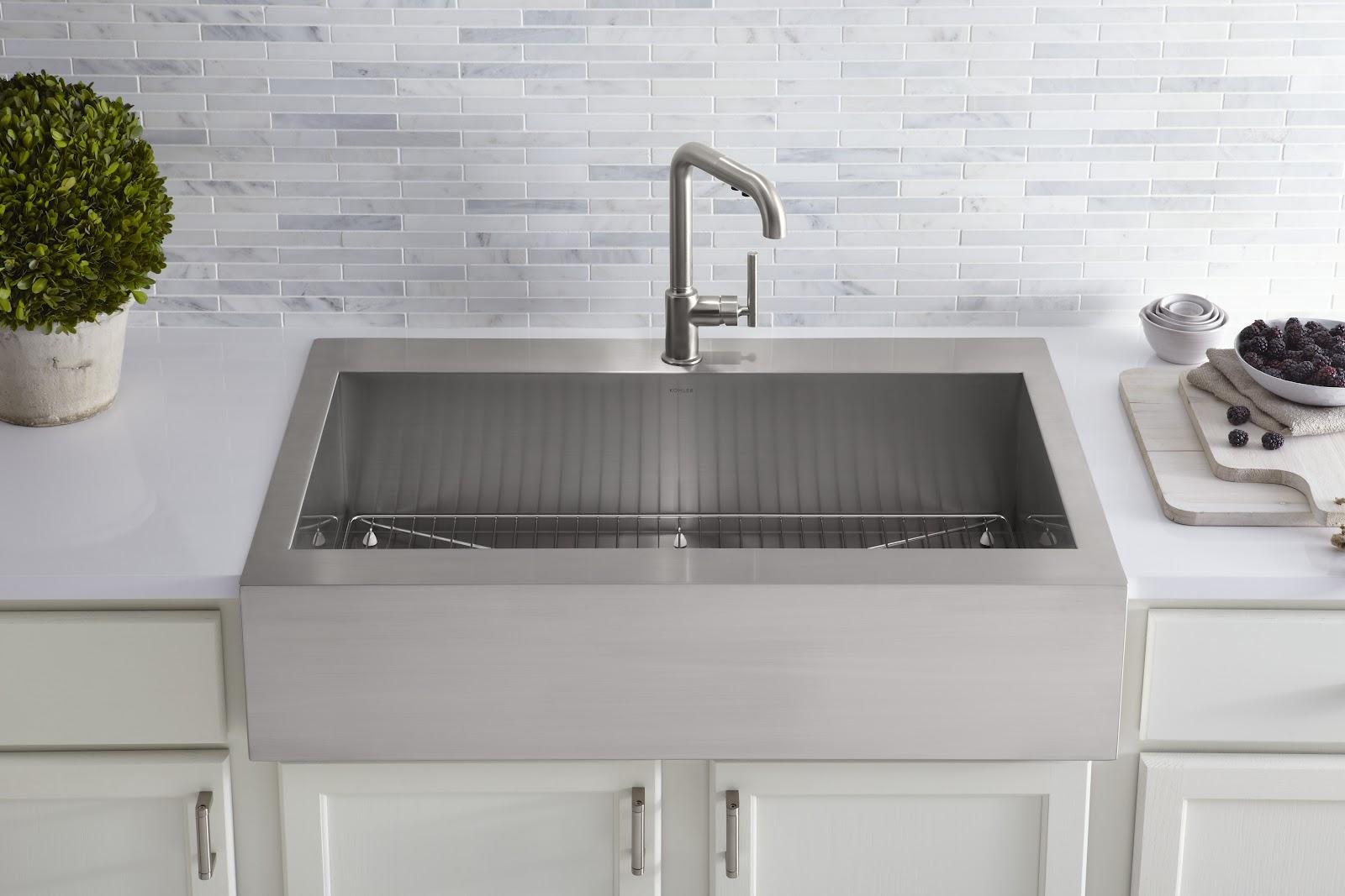 Ideas, kohler kitchen sink faucets white kohler kitchen sink faucets white kitchen convenient cleaning with stainless steel farm sink 1600 x 1067  .