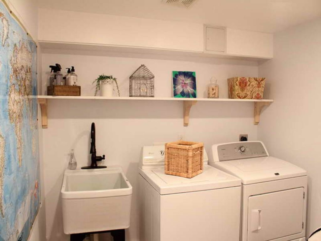 Ideas, laundry room faucets bronze laundry room faucets bronze basement laundry room with open shelf and bronze faucet build a 1024 x 768  .