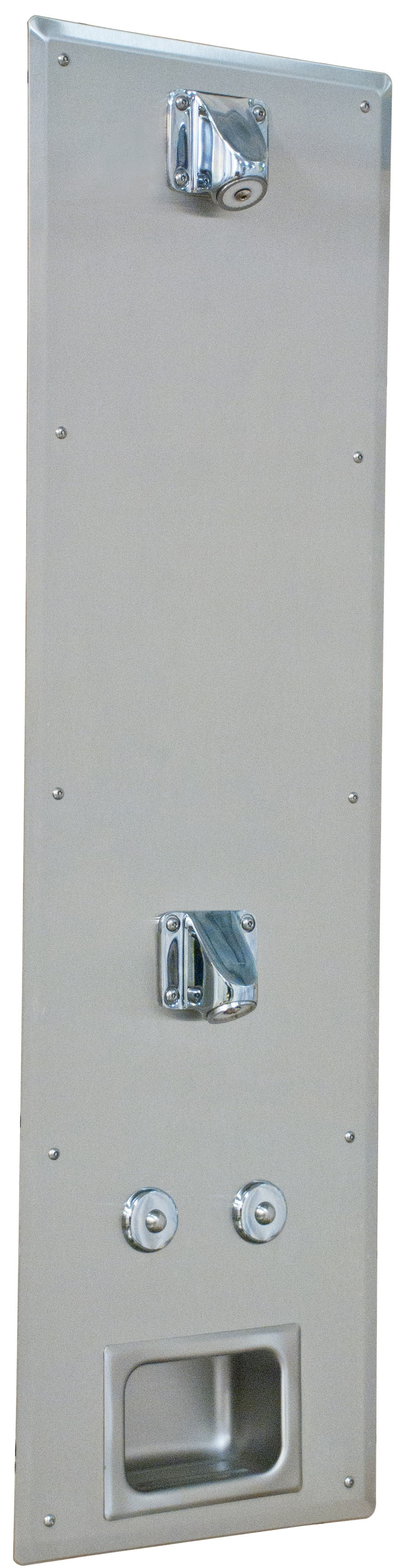 Ideas, ligature resistant front mounted 2 head panel shower bradley in size 882 x 3436  .