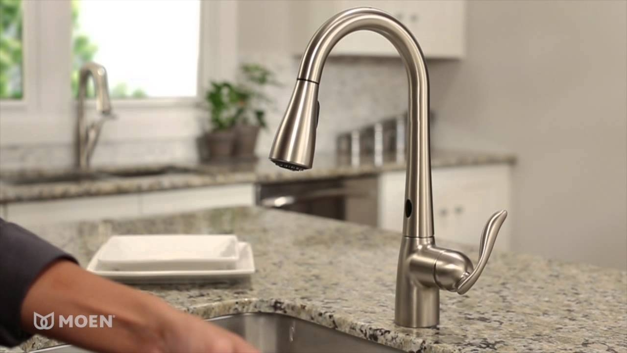 Ideas, moen arbor with motionsense one handle high arc pulldown kitchen pertaining to dimensions 1280 x 720  .