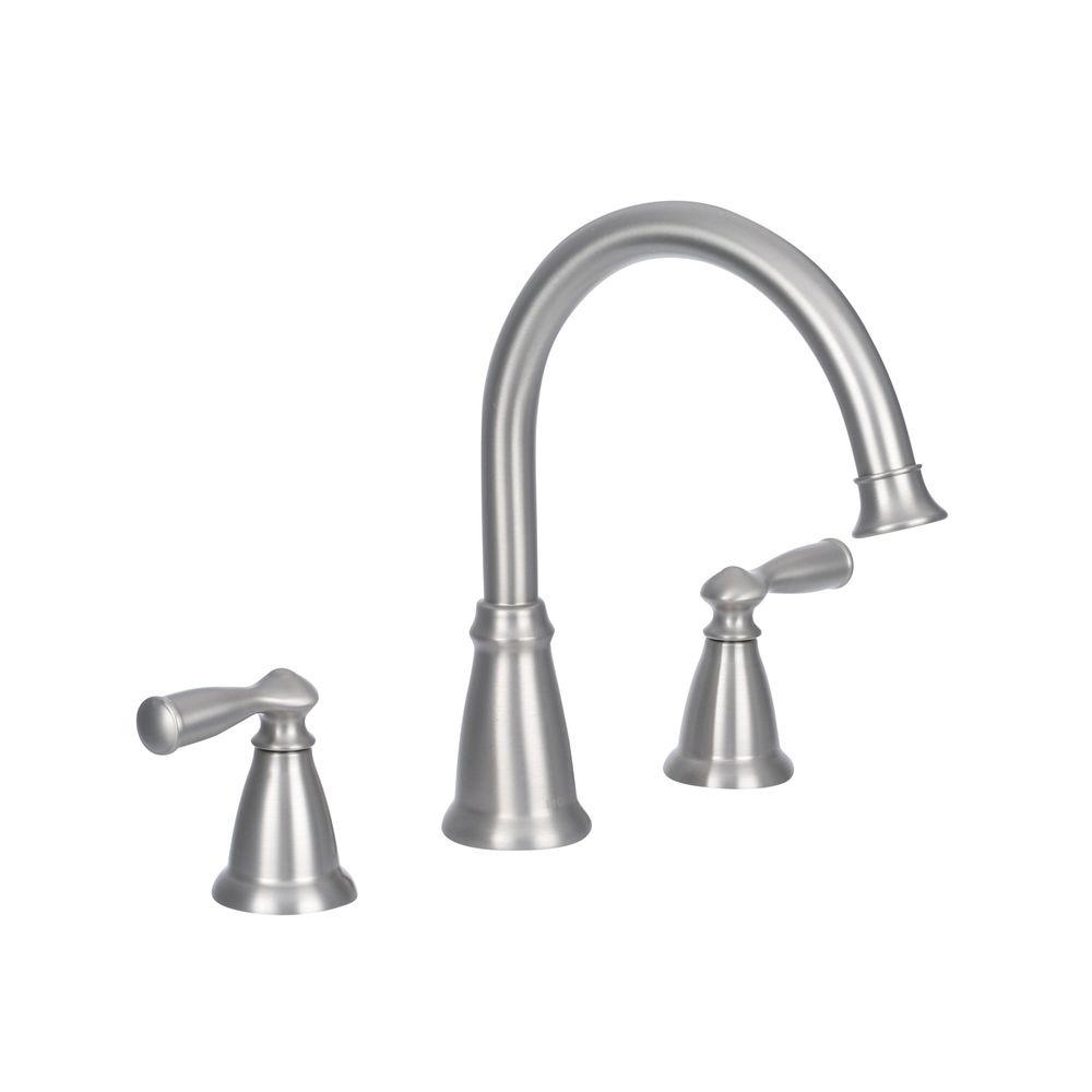 Ideas, moen banbury 2 handle deck mount high arc roman tub faucet with throughout proportions 1000 x 1000  .