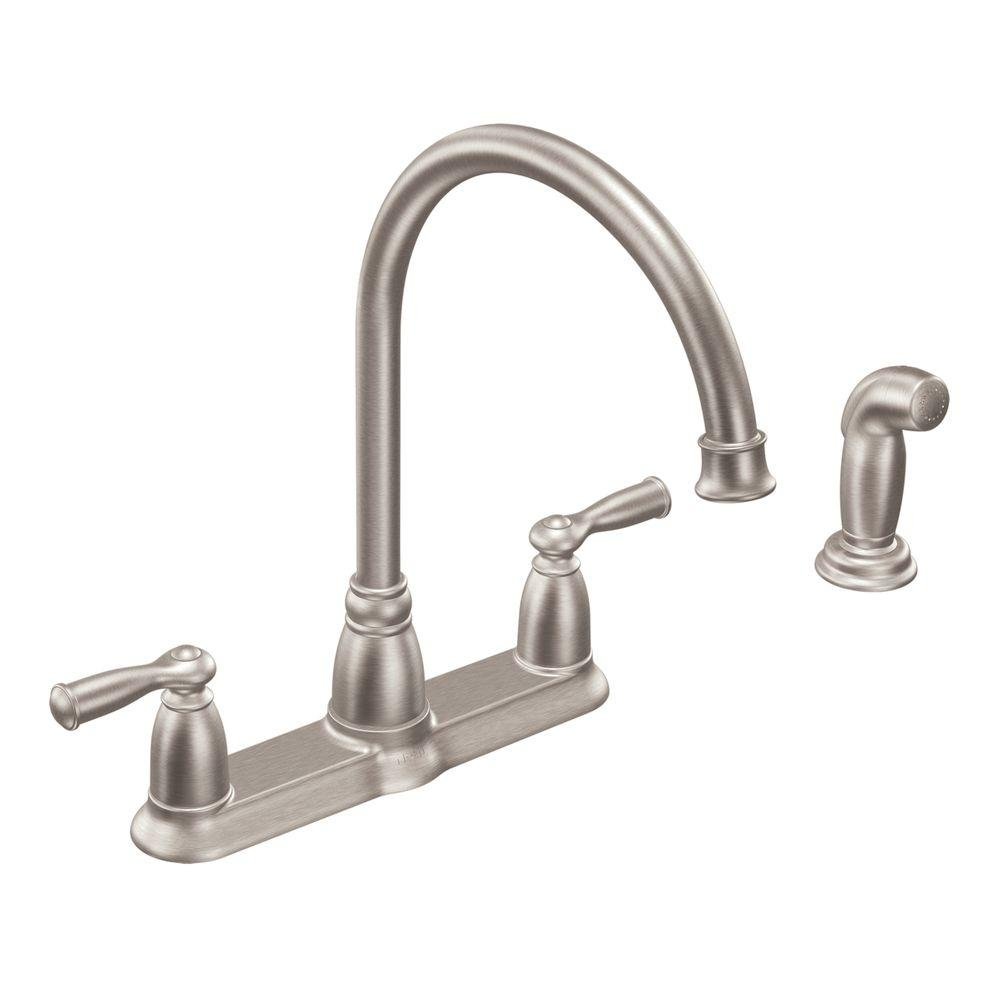 Ideas, moen banbury high arc 2 handle standard kitchen faucet with side for proportions 1000 x 1000  .