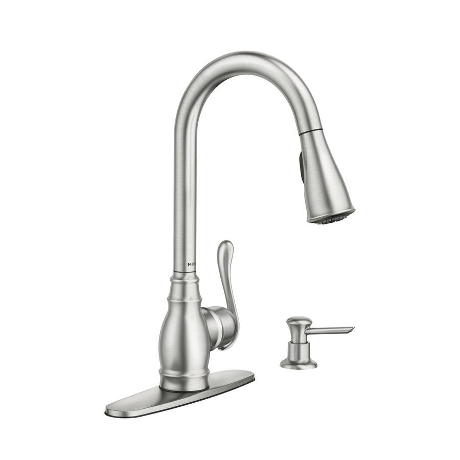 Ideas, moen banbury pullout sprayer kitchen faucet with power clean in with sizing 900 x 900  .