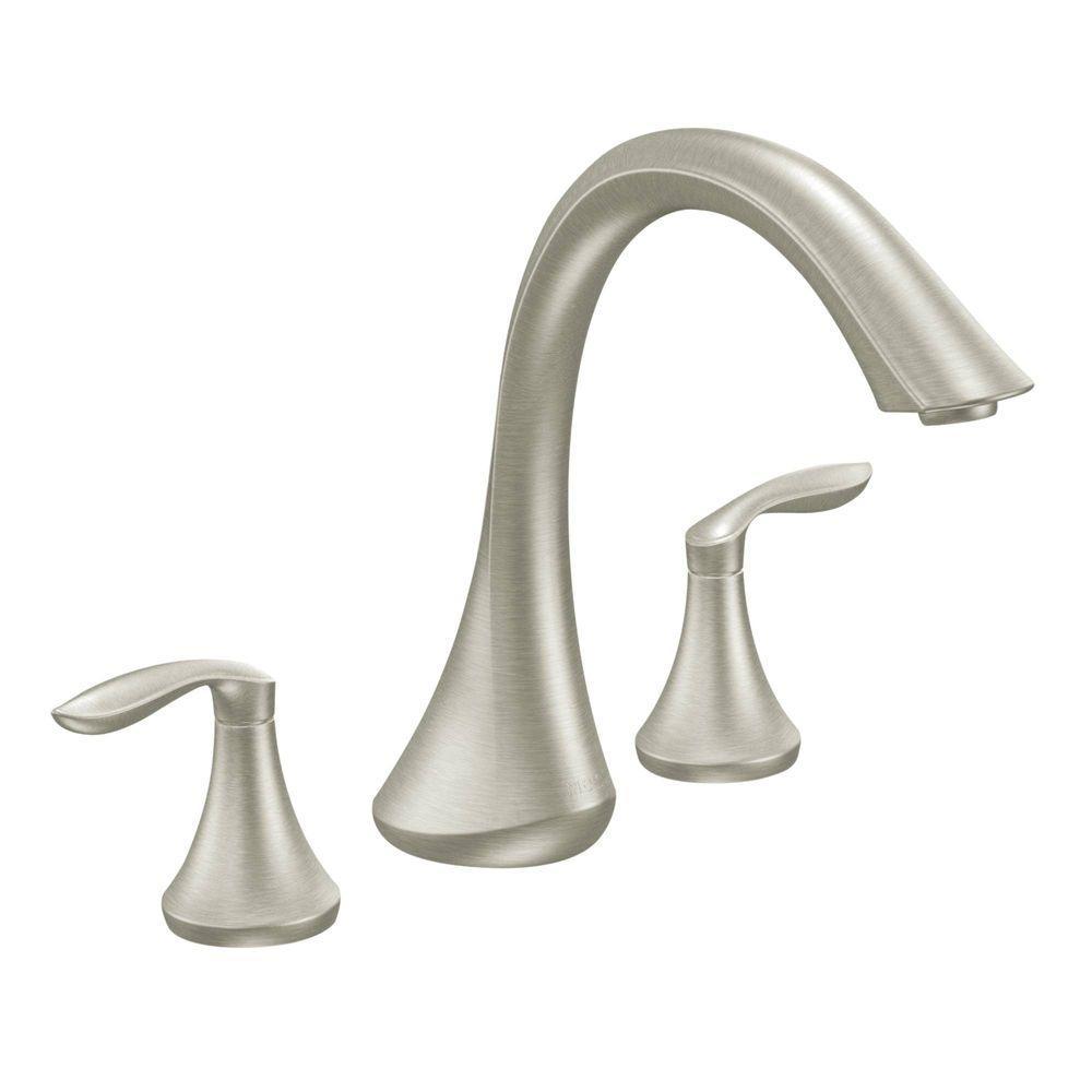 Ideas, moen eva 2 handle deck mount roman tub faucet trim kit in brushed in dimensions 1000 x 1000  .