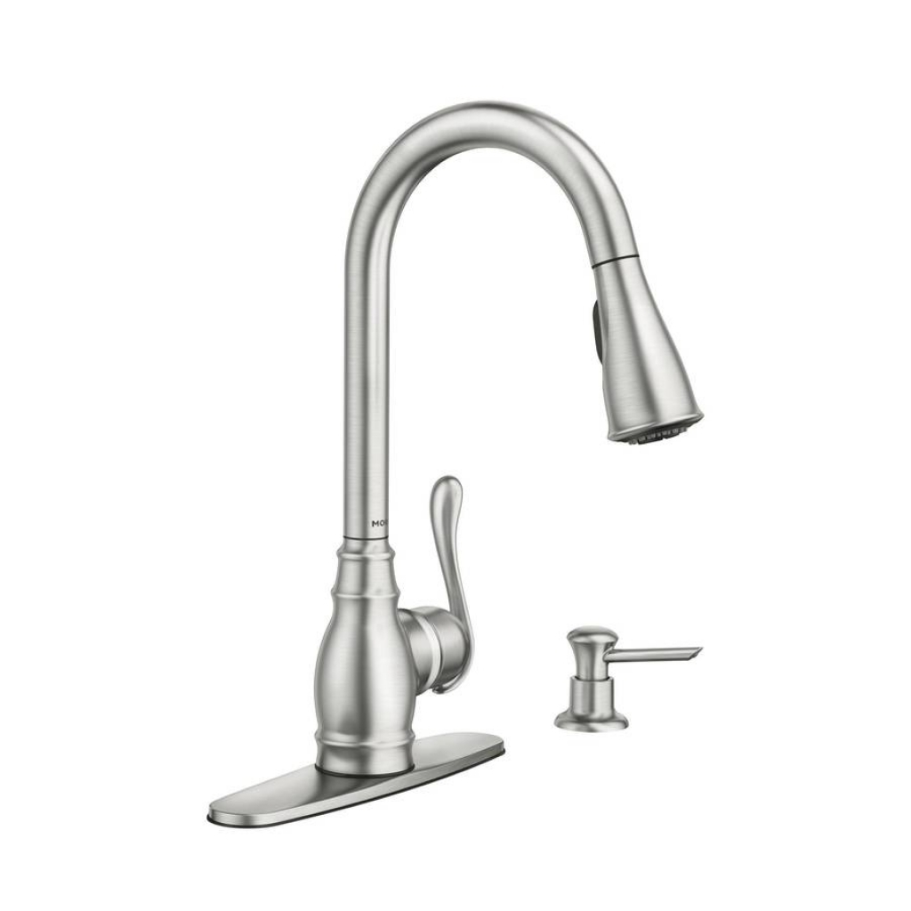 moen extensa single handle pull out sprayer kitchen faucet with intended for measurements 1024 x 1024