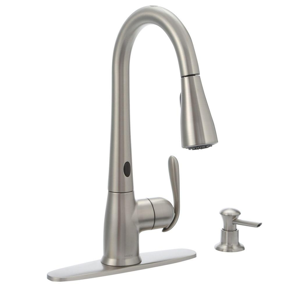 moen haysfield single handle pull down sprayer touchless kitchen throughout measurements 1000 x 1000 1