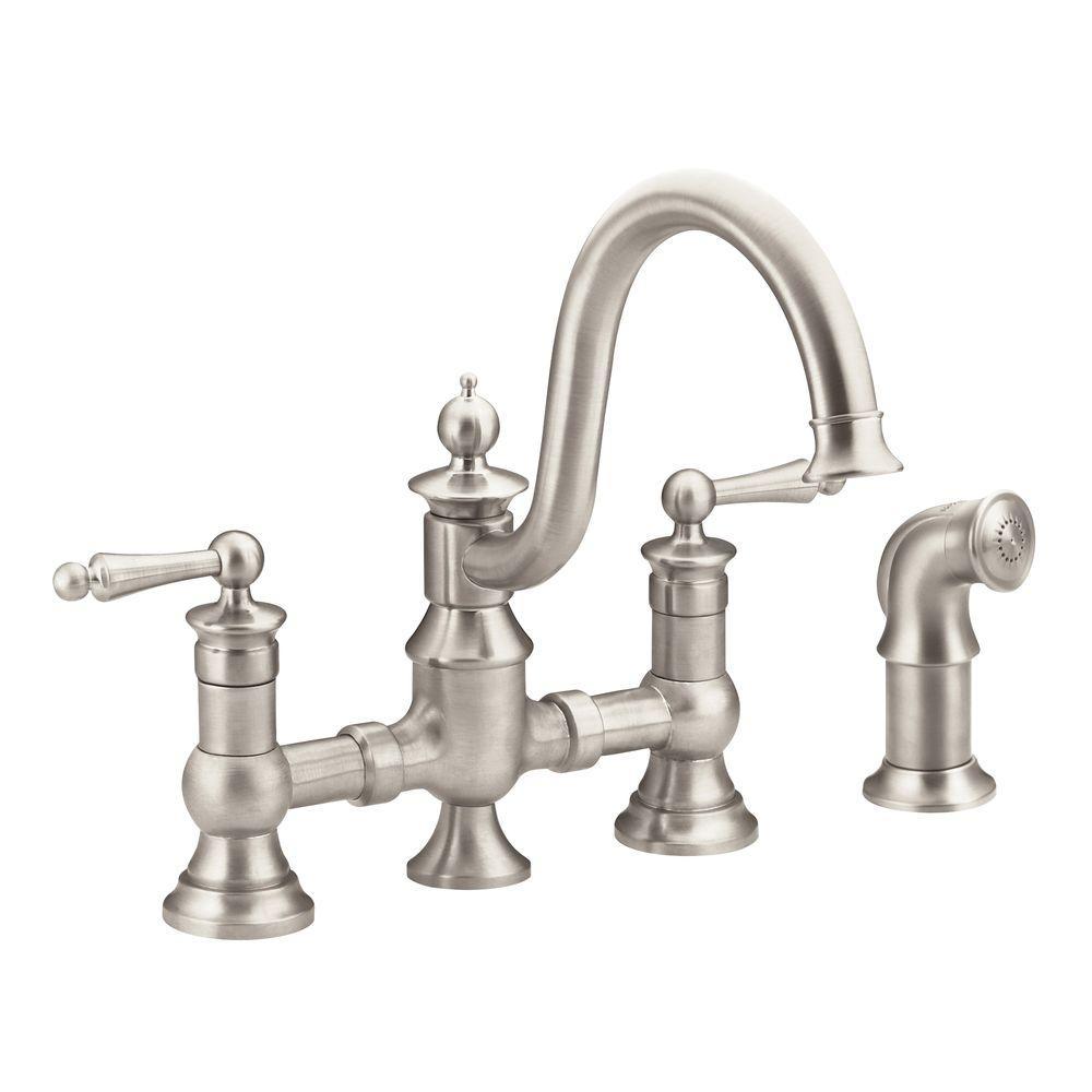 Ideas, moen long neck kitchen faucet moen long neck kitchen faucet moen waterhill 2 handle high arc side sprayer bridge kitchen 1000 x 1000  .