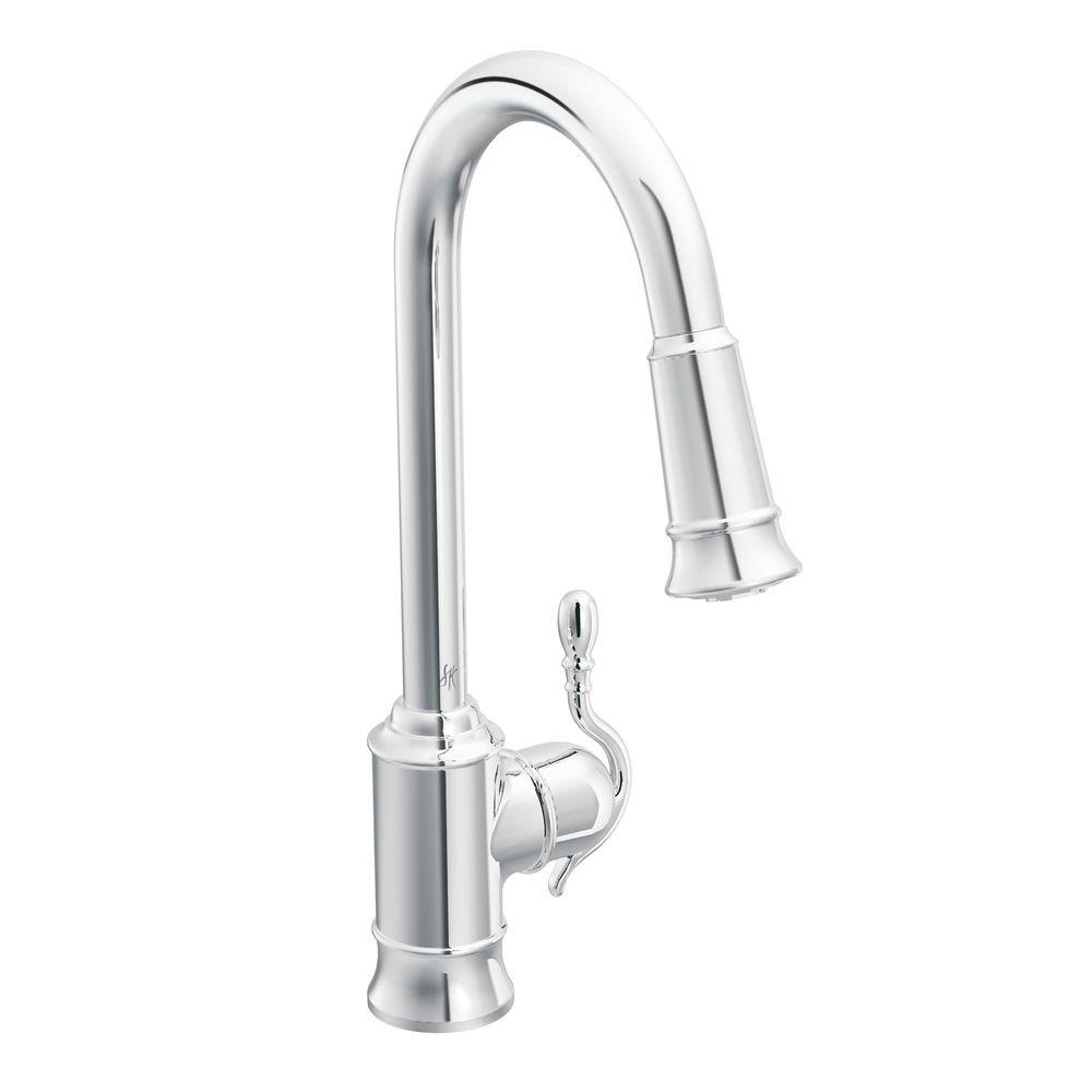 moen woodmere single handle pull down sprayer kitchen faucet pertaining to size 1000 x 1000