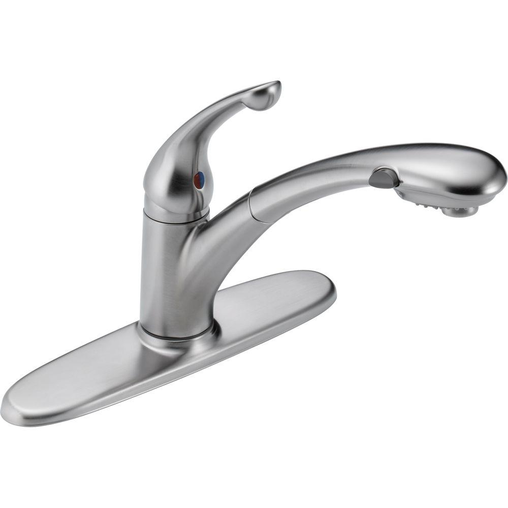 Ideas, one hole kitchen faucet pull out one hole kitchen faucet pull out delta signature single handle pull out sprayer kitchen faucet in 1000 x 1000 1  .