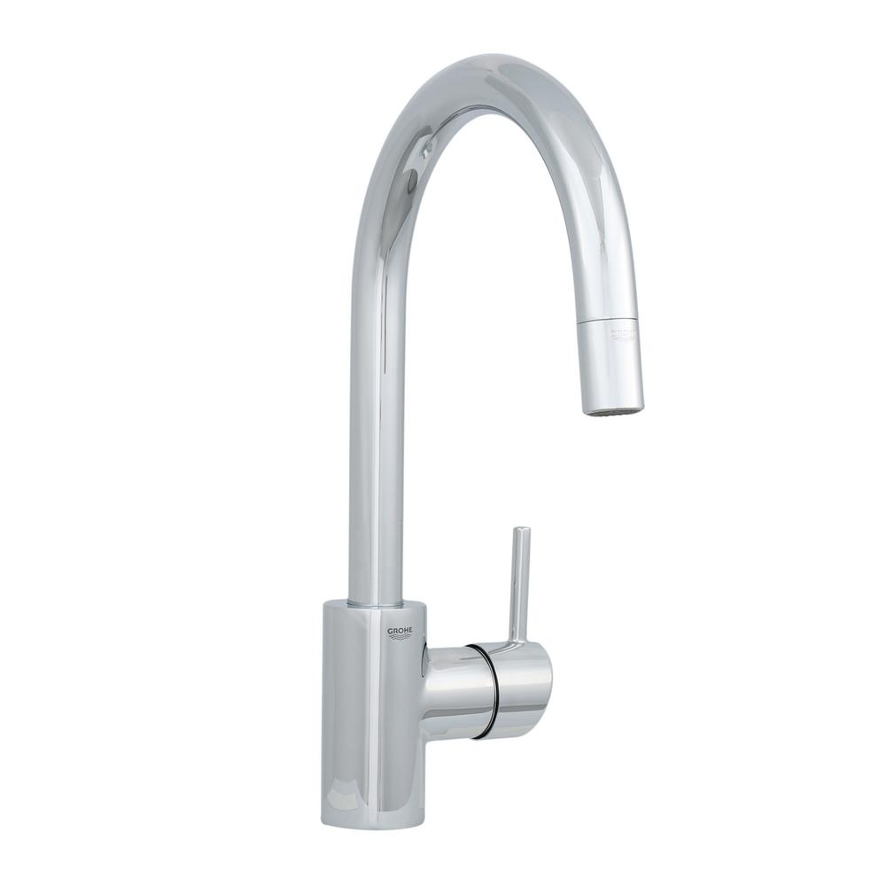 Ideas, one hole kitchen faucet without pull out one hole kitchen faucet without pull out grohe concetto single handle pull out sprayer kitchen faucet in 1000 x 1000  .