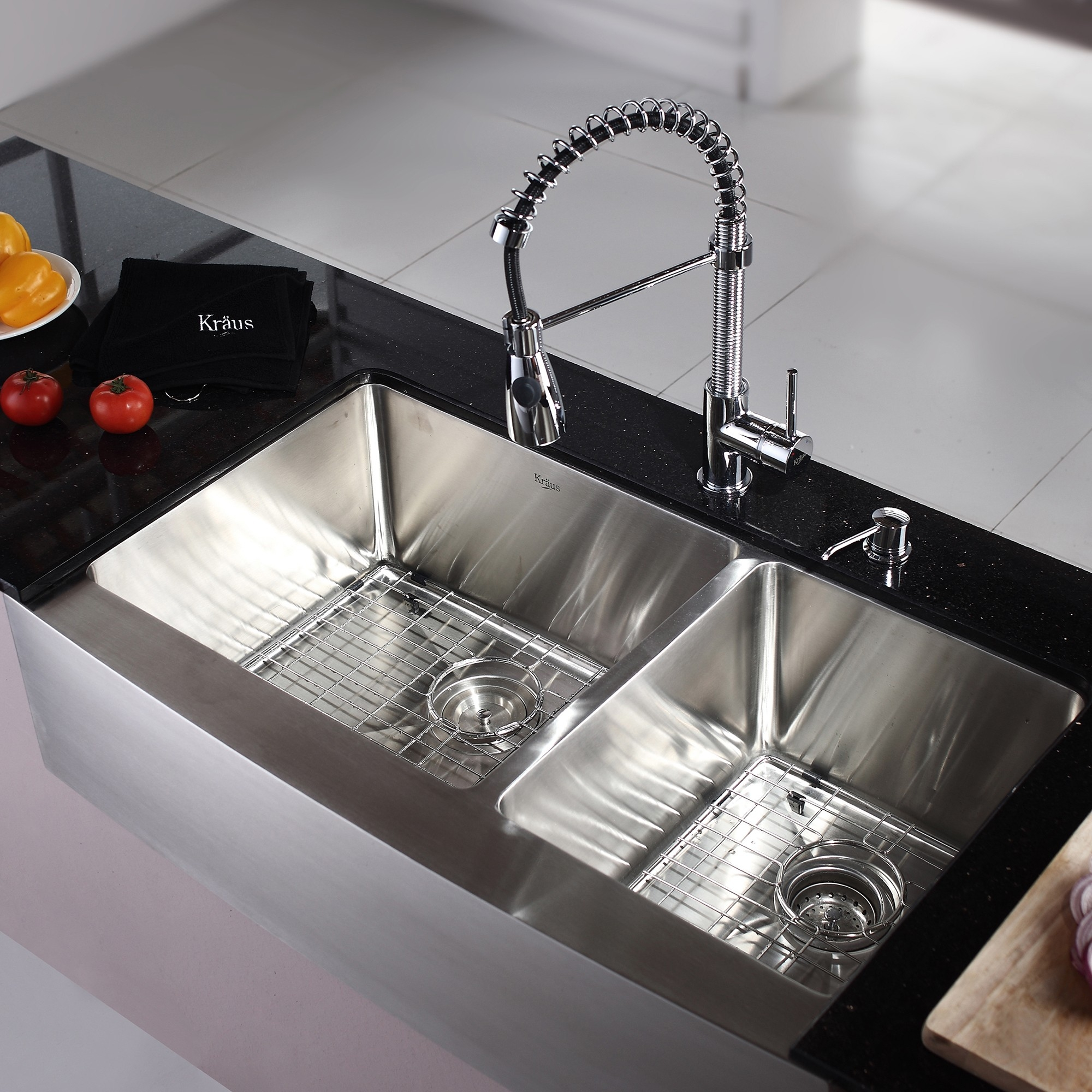 Ideas, one kitchen sink with two faucets one kitchen sink with two faucets kitchen convenient cleaning with stainless steel farm sink 2000 x 2000  .