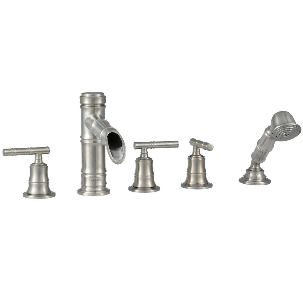 pegasus bamboo 3 handle roman tub faucet with hand shower in intended for measurements 1000 x 1000