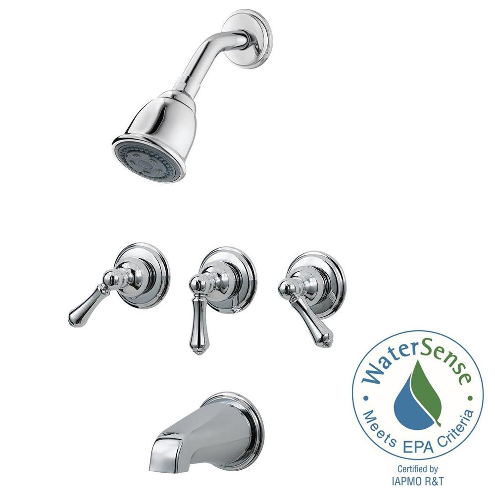 pfister 3 handle tub and shower faucet trim kit in polished chrome with size 1000 x 1000