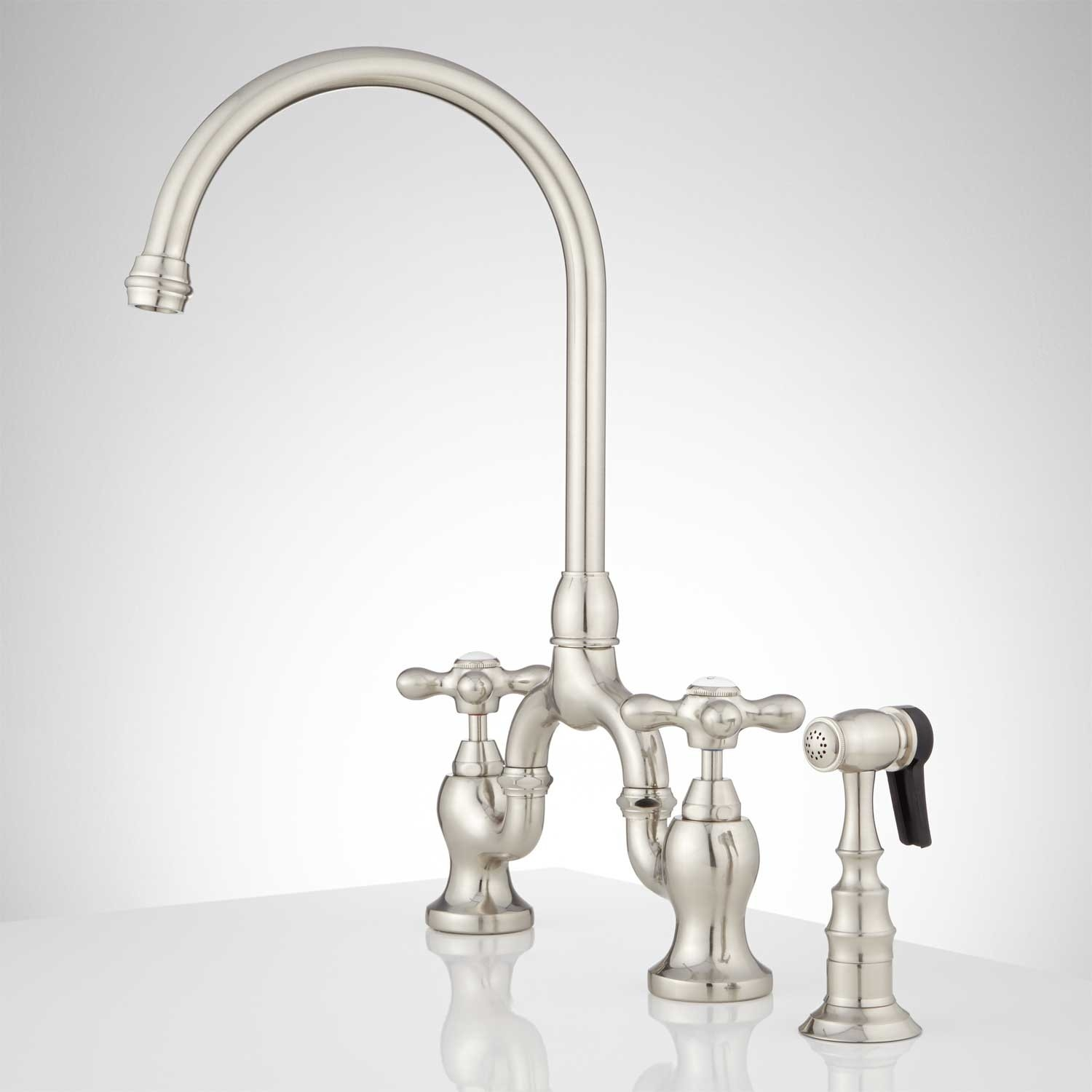 ponticello bridge kitchen faucet with side spray cross handles with regard to proportions 1500 x 1500