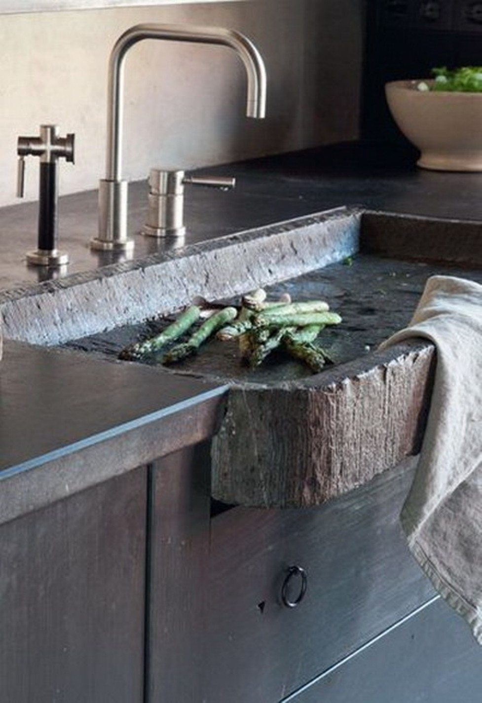 Ideas, rustic kitchen sink faucets rustic kitchen sink faucets rustic modern kitchen features modern faucet and hammered stone 977 x 1425  .