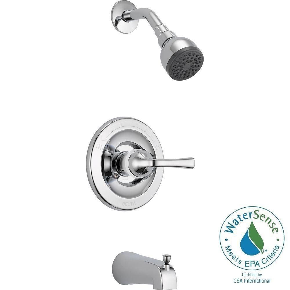 Ideas, single handle shower faucet single handle shower faucet delta foundations single handle 1 spray tub and shower faucet in 1000 x 1000  .