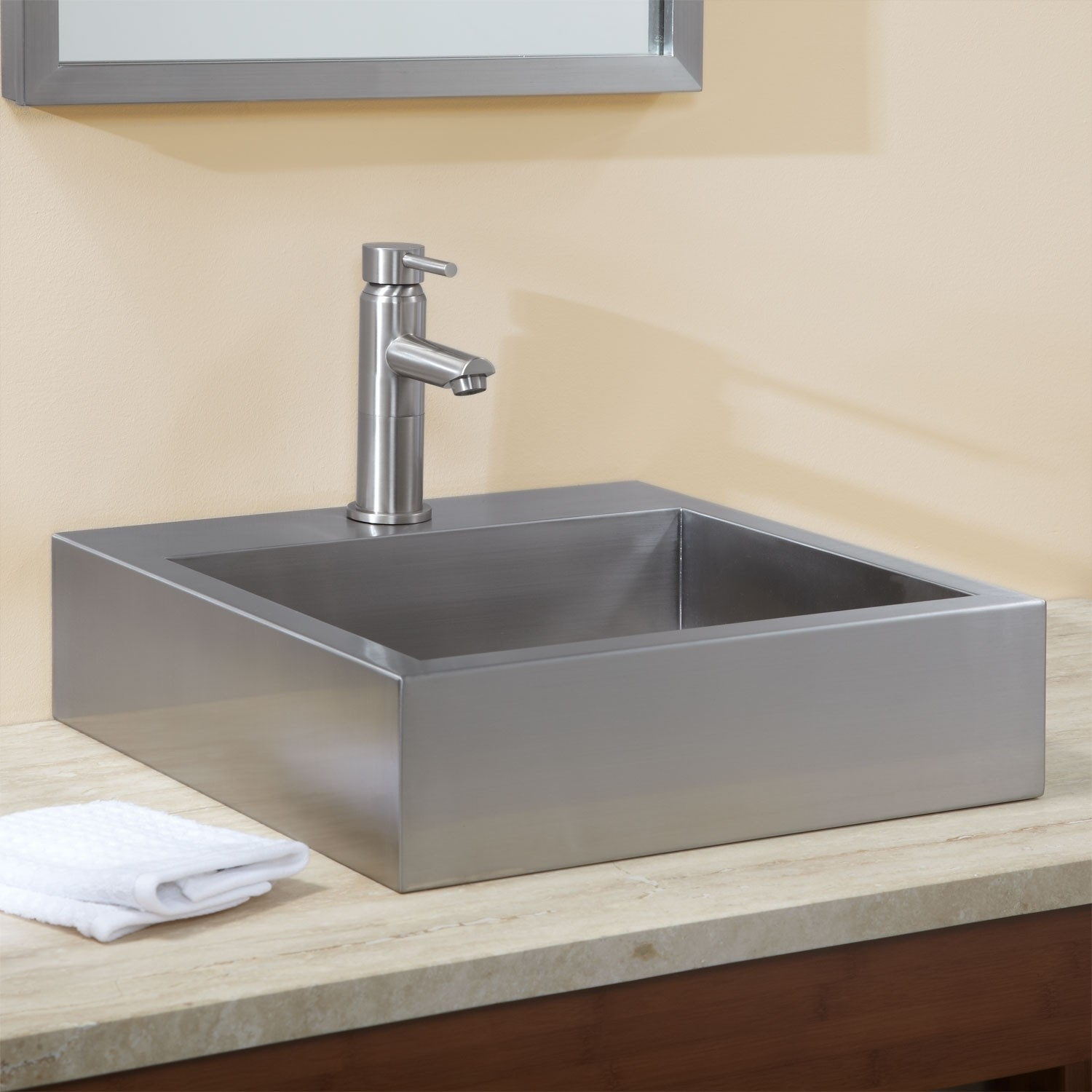 Ideas, square vessel sinks with faucets square vessel sinks with faucets 18 clarendon brushed stainless steel square vessel sink bathroom 1500 x 1500  .
