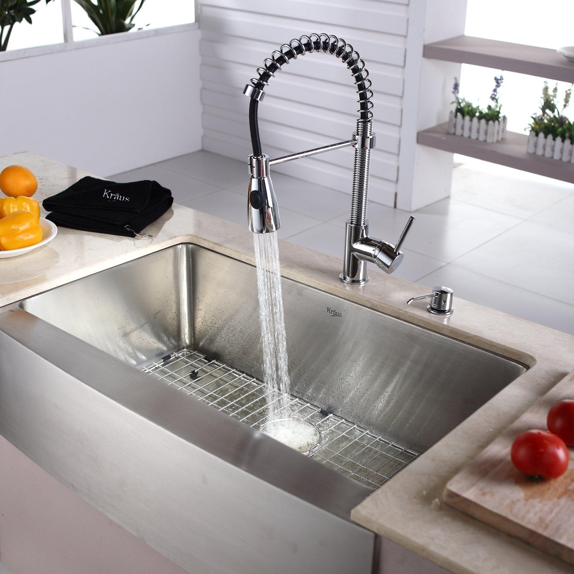 Ideas, stainless steel farmhouse sink with faucet holes stainless steel farmhouse sink with faucet holes dining kitchen make your kitchen looks elegant with lavish 2000 x 2000  .