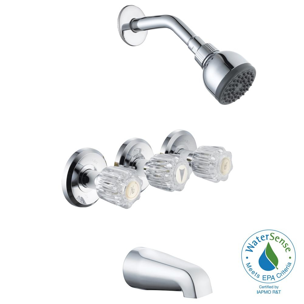 Ideas, three handle bathtub shower faucet three handle bathtub shower faucet glacier bay aragon 3 handle 1 spray tub and shower faucet in 1000 x 1000  .