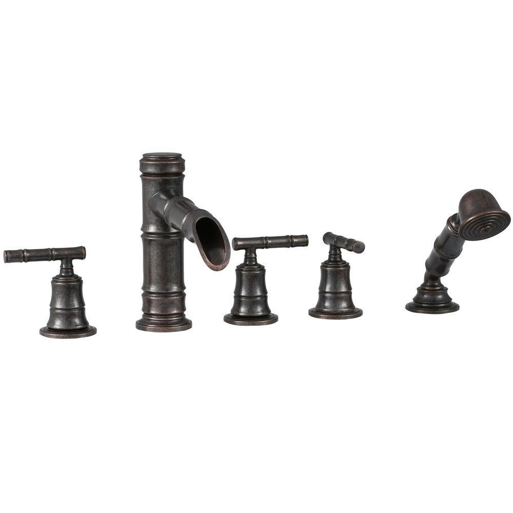 Three Handle Shower Faucet Bronze