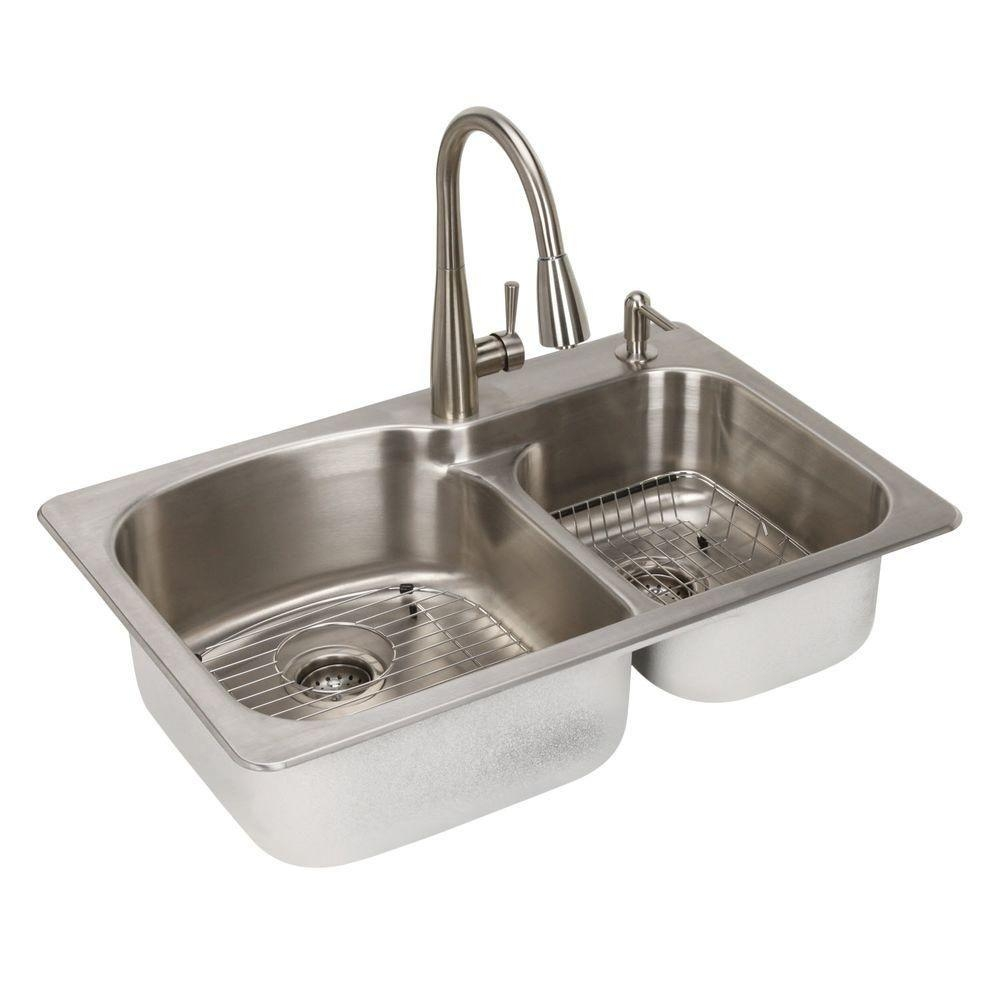 Ideas, top mount kitchen sink and faucet combo top mount kitchen sink and faucet combo glacier bay all in one dual mount stainless steel 33 in 2 hole 1000 x 1000  .