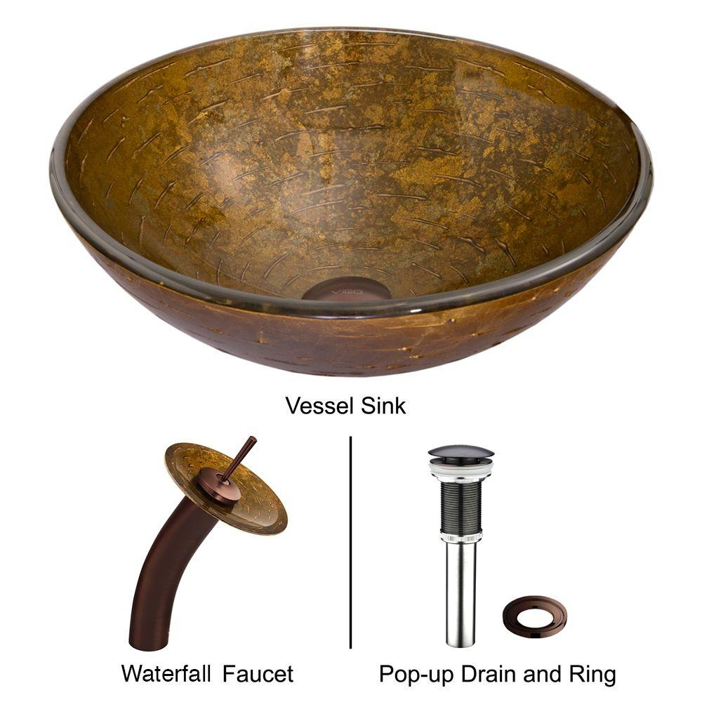 vigo glass vessel sink in textured copper with waterfall faucet with measurements 1000 x 1000