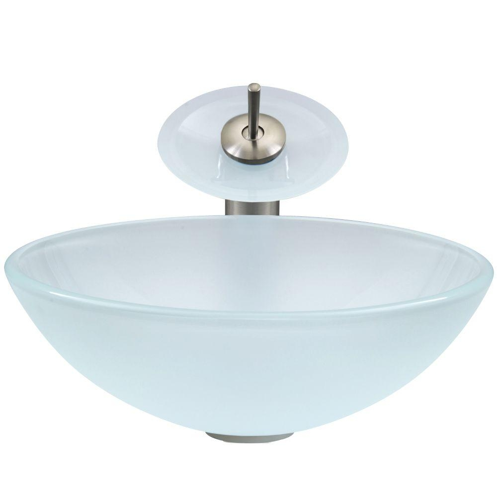 vigo glass vessel sink in white frost with waterfall faucet set in in proportions 1000 x 1000