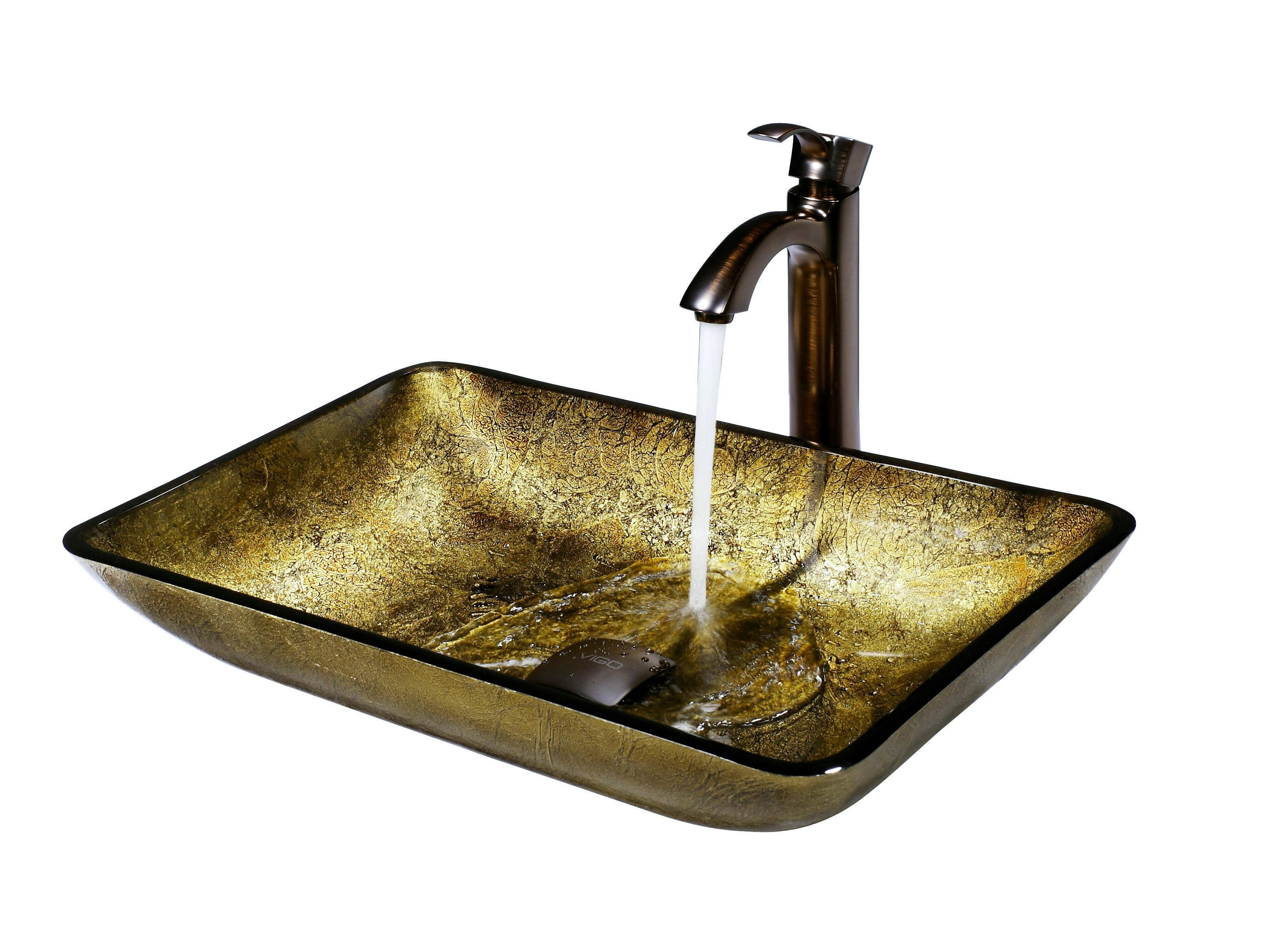 Ideas, vigo rectangular copper glass vessel sink and faucet set in oil for size 3276 x 2392  .