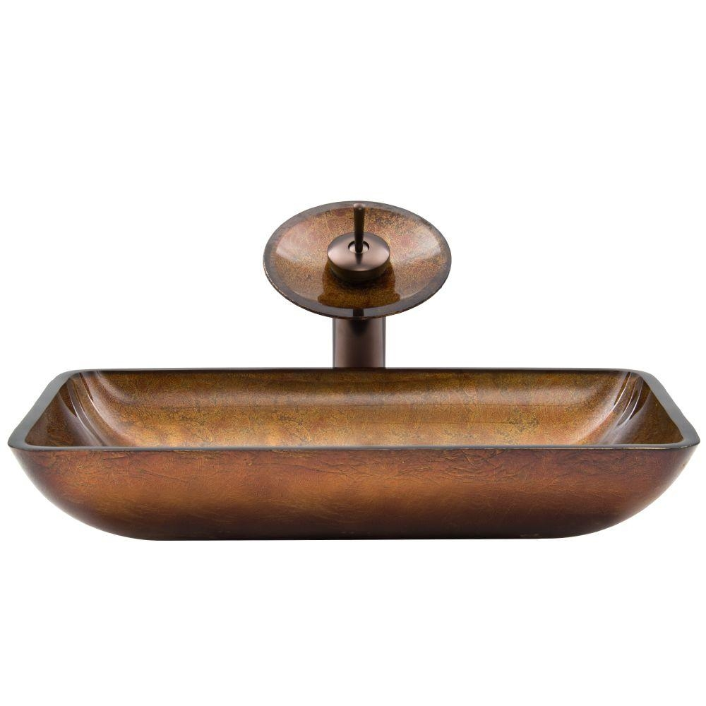 Ideas, vigo rectangular glass vessel sink in russet glass with waterfall regarding sizing 1000 x 1000  .