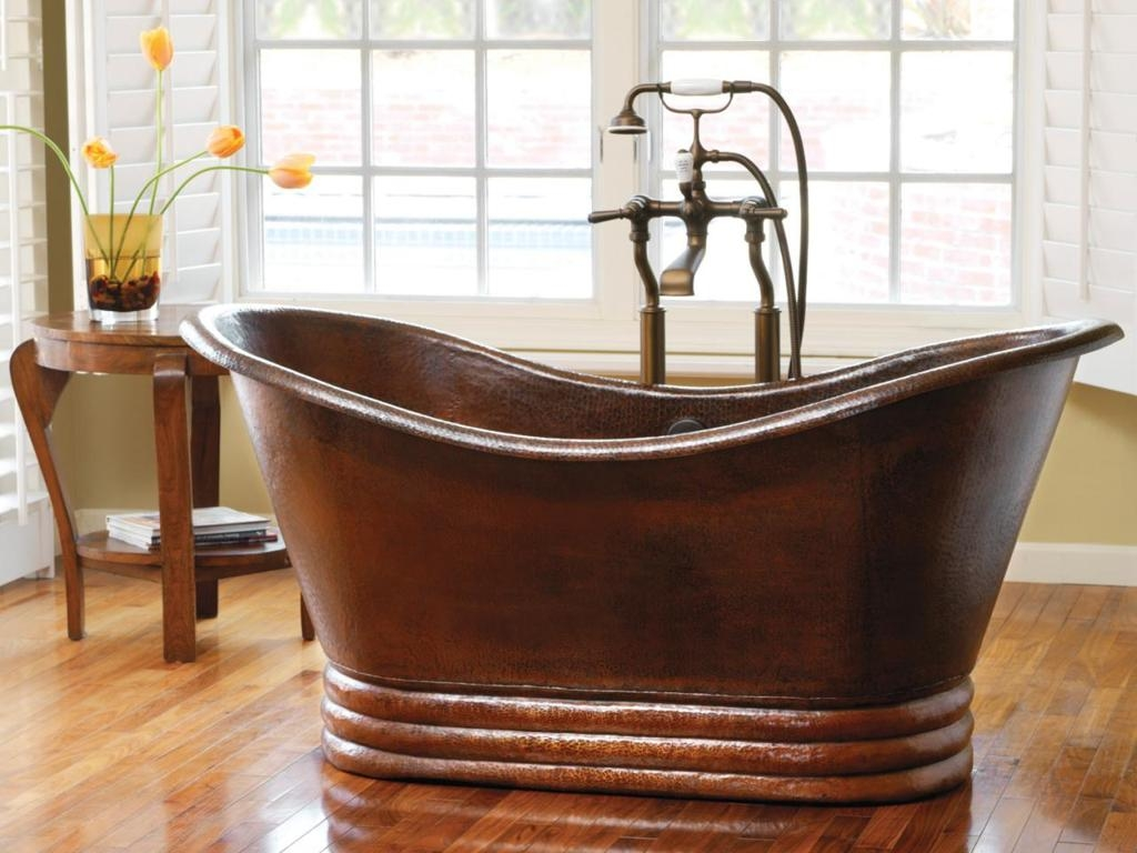 Ideas, vintage bronze old style bathtub with classic faucet on wooden pertaining to dimensions 1024 x 768  .