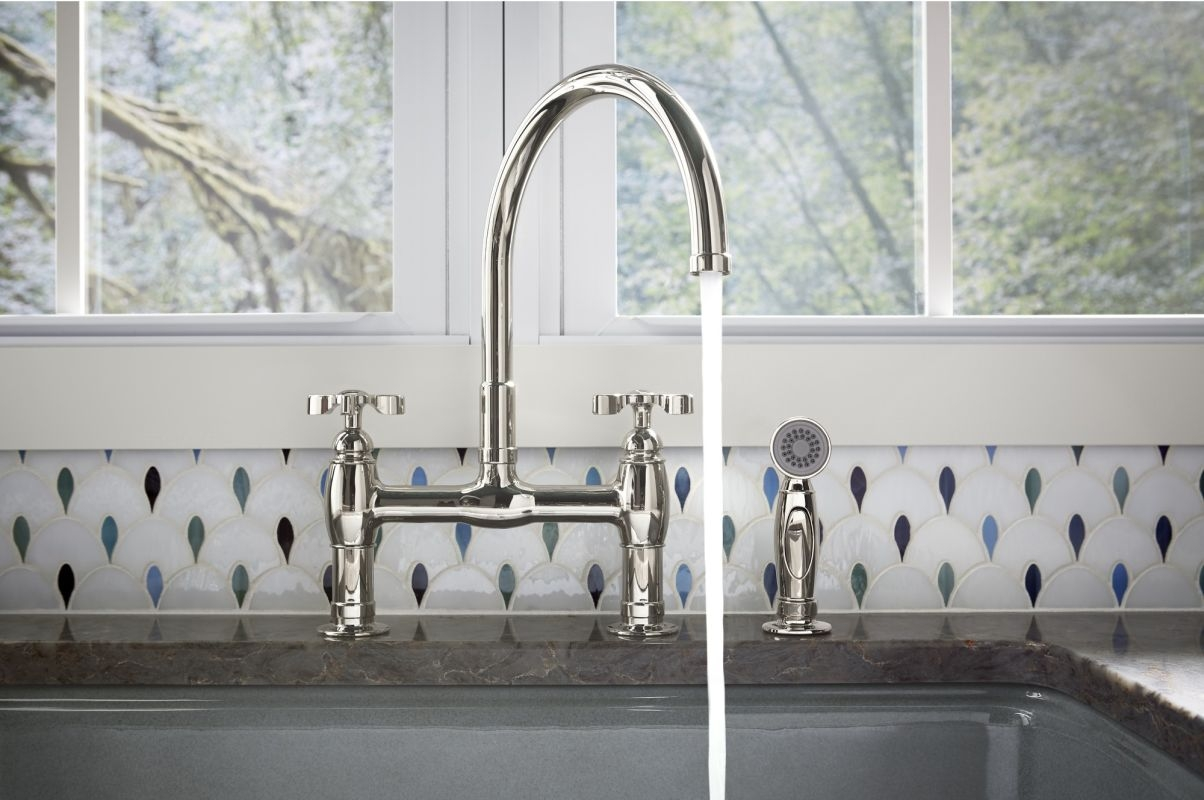 Ideas, wall mounted country kitchen bridge faucet with handspray wall mounted country kitchen bridge faucet with handspray kitchen bridge faucet signature hardware faucets kitchen 1204 x 800  .