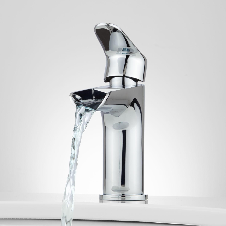 Waterfall Bathroom Vessel Sink Faucet Brushed Nickel