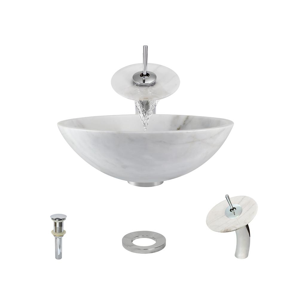 Ideas, white vessel sink with waterfall faucet white vessel sink with waterfall faucet mr direct stone vessel sink in white onyx with waterfall faucet 1000 x 1000  .